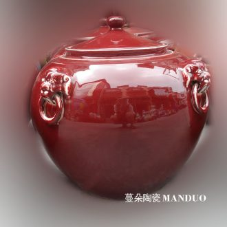 Jingdezhen ruby red porcelain kiln porcelain lion a porcelain crock pot rice pot 50 pounds