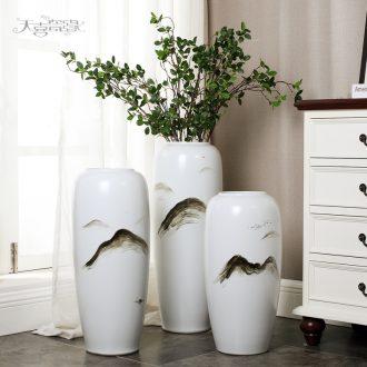 The sitting room of large ceramic vase modern American zen simulation flower arranging hotel furnishing articles TV ark household decoration