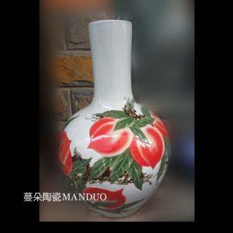 Jingdezhen hand-painted xiantao carving celestial birthday ceramic vase xiantao celestial art porcelain vase