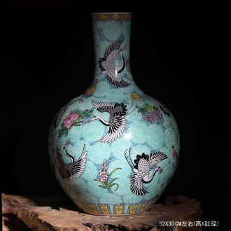 Tendril flower jingdezhen ceramic hand-painted pastel cranes vase high-grade high-grade gift porcelain vase sitting room furnishing articles
