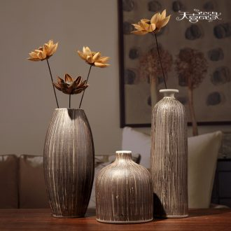 Jingdezhen ceramic vases, three-piece suit modern living room TV cabinet mesa flower arranging household soft adornment is placed