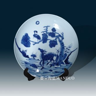 Hand deer jingdezhen blue and white porcelain porcelain porcelain classic in the qing dynasty kangxi in the qing dynasty blue and white porcelain plate