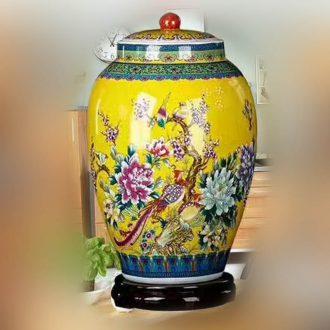 Jingdezhen wax gourd powder enamel porcelain pot peony wax gourd Pisces wax gourd can practical storage tank