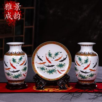 Jingdezhen ceramics vase TV ark three-piece furnishing articles european-style wedding gifts contemporary and fashionable sitting room
