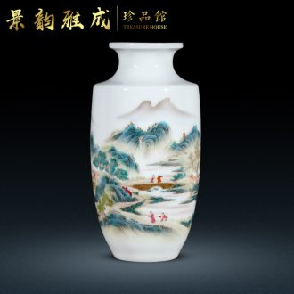 Jingdezhen ceramic hand-painted far jiang hang sail flower vase furnishing articles sitting room rich ancient frame craft gift ornament