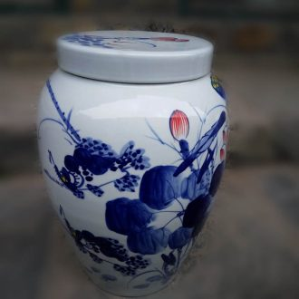 Jingdezhen ceramic porcelain rice pot big sugar bowls 20 jins and 40 catty ceramic pot straight beautiful storage tank