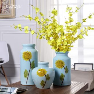 Jingdezhen contemporary and contracted ceramic vase furnishing articles creative living room small pure and fresh and dry flower arranging, table decorations