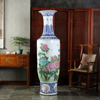 Jingdezhen blue and white bag mail to the ground 1.8 meters big ceramics vase hotel lobby hall opening gifts furnishing articles