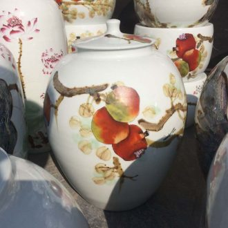 Jingdezhen 40 kg powder enamel pomegranate porcelain cover type can of apple storage tank is fashionable household meters tank