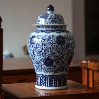 Hand painted blue and white porcelain, cover pot large fine ceramic storage tank general pot general handwritten text