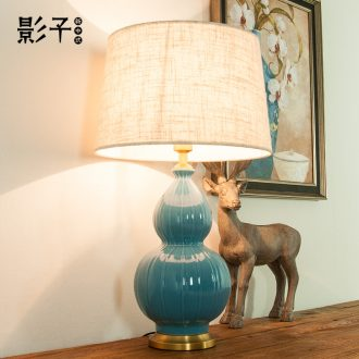 Modern American ceramic desk lamp full copper contracted gourd study hotel large sitting room desk lamp of bedroom the head of a bed, 1043