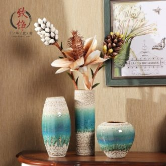Creative home decorative vase three-piece suit European ceramic vases, flower ceramic arts and crafts