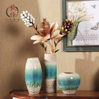 Creative home decorative vase three-piece suit European ceramic vases, flower ceramic arts and crafts
