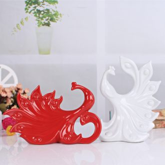 Fashionable household decoration contemporary and contracted sitting room TV cabinet decoration ceramics handicraft lovers peacock furnishing articles