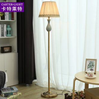 American floor lamp sitting room is contracted and contemporary ceramic creative personality fashion vertical sweet bedroom remote control of the head of a bed