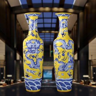 Jingdezhen ceramic hand-carved dragons landing big vase Chinese dragon ceramic vase sitting room hotel furnishing articles