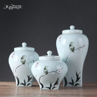 Modern new Chinese style household soft adornment of pottery and porcelain furnishing articles living room TV cabinet example room porch decoration storage tank