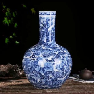 Jingdezhen porcelain youligong red dragon grain blue and white dragon vase celestial celestial dragon vase sea vase