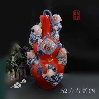 Jingdezhen porcelain tong qu tong qu five blessings sculpture gourd 52 cm high display furnishing articles furnishing articles 28 cm