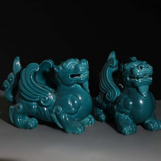 Antique porcelain blue lion benevolent furnishing articles furnishing articles god beast benevolent animals not fade the mythical wild animal of China