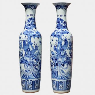 Jingdezhen ceramics hand-painted landing large blue and white porcelain vase sitting room hall hotel opening furnishing articles