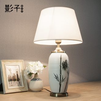 Ceramic lamp sitting room bedroom study modern new Chinese wind simple hand-painted bamboo decorative lamps and lanterns of the head of a bed, 1065