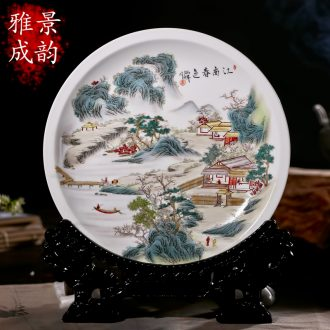 The new jingdezhen ceramics hand-painted porcelain decoration painting landscapes hang dish Zhang Bingxiang furnishing articles at home
