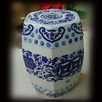 Jingdezhen ceramic hexagonal polygon classical porcelain stool archaize ceramic porcelain stool garden stool