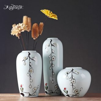 Jingdezhen ceramic vases, modern new Chinese style household creative platform MianRuan sitting room adornment furnishing articles flower arrangement