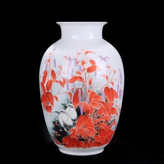 Jingdezhen ceramics flower vase wine ark adornment handicraft furnishing articles sitting room painted flowers and birds characters bottle