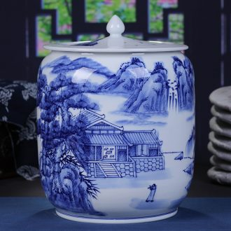 Jingdezhen blue and white landscape ceramic hand-painted caddy large tea cake tin puer tea urn home ten loaves of bread