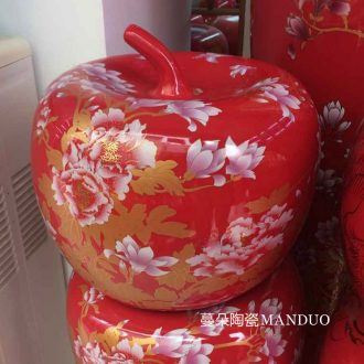 Jingdezhen red everyone big apple red vase wedding decoration porcelain vases vase