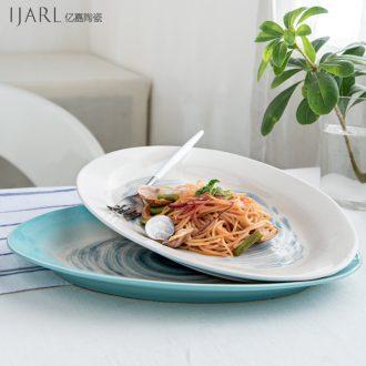 Ijarl million jia hand-painted under glaze color porcelain plate crack glaze fish dish plate single star