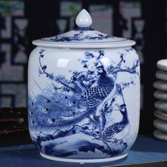 Jingdezhen ceramic hand-painted porcelain tea pot seal pu 'er tea pot of tea cake big yards tea cake storage barrel