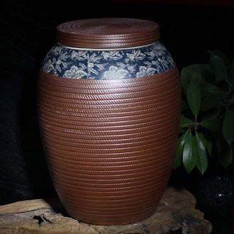 Jingdezhen caramel 45 kg flat cover coffee blue practical fashion retro porcelain pot caramel flat cover tank