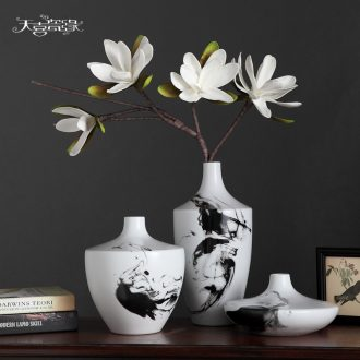 Modern new Chinese style ceramic vase three-piece creative living room TV ark of dry flower arranging porch zen furnishing articles