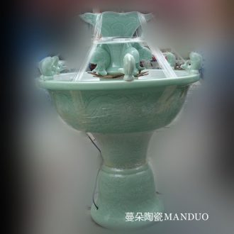 Jingdezhen celadon dragon home sitting room elegant porcelain porcelain fountain fountains carp porcelain fountain fountains