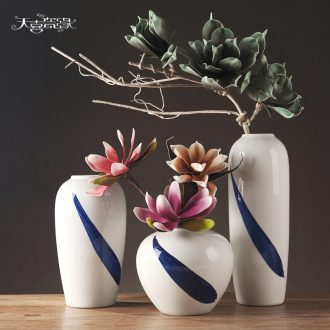 Contemporary and contracted style ceramic vase three-piece creative living room TV ark home decoration furnishing articles dried flowers