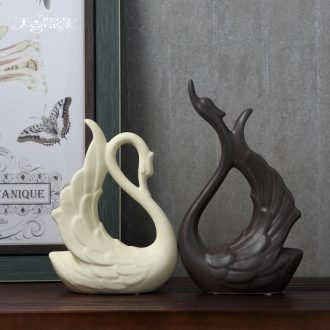 Nordic home decoration creative wine sitting room porch place wedding gift ceramics handicraft lovers swan