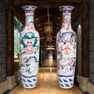 Jingdezhen ceramics of large vases, longteng all yellow glaze hand-painted porcelain carving dragon hotel furnishing articles in the living room