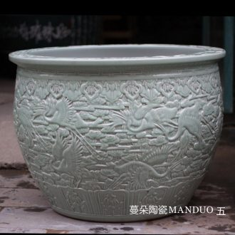 Jingdezhen porcelain hand-carved crane China VAT fish turtle pond lily China big courtyard porcelain cylinder