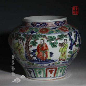 Jingdezhen big pot of three hand-painted porcelain imitation of yuan blue and white porcelain jar of antique porcelain pot culture