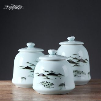 New Chinese jingdezhen ceramic creative modern household soft adornment ornament the sitting room porch storage tank furnishing articles