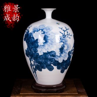 Jingdezhen blue and white peony vases, contemporary and contracted hand-painted ceramics decoration furnishing articles modern Chinese style living room