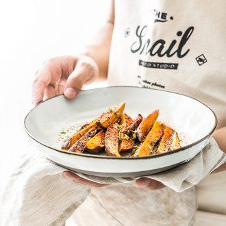 Million jia household ceramics Nordic soup bowl of soup dish plate large rainbow noodle bowl creative irregular salad bowl twilight