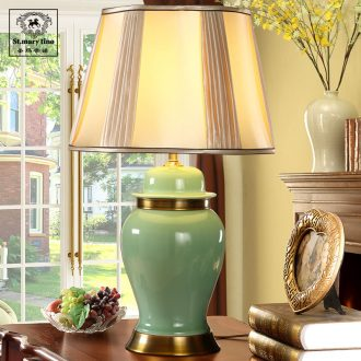 Southeast Asia all jade green copper ceramic new Chinese style table lamp of bedroom the head of a bed teahouse study new classical Chinese storm lantern