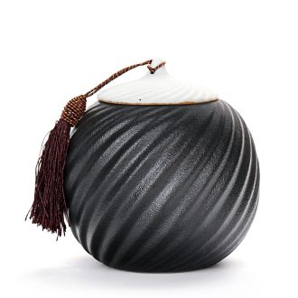 Old looking, black pottery medium size rotating caddy coarse TaoXuanWen ceramic pot POTS sealed storage tanks