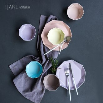 Ijarl million fine grind arenaceous feeling creative ceramic color clay ceramic tableware Korean rainbow noodle bowl of rice bowl bowl only