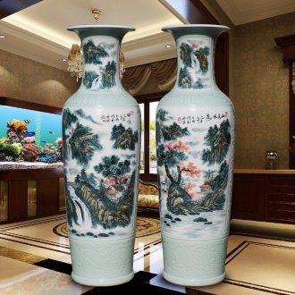Xiushui castle peak day hao jingdezhen hand-painted ceramic vase of large sitting room hotel decoration furnishing articles