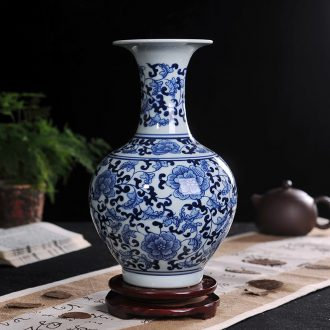 Jingdezhen blue and white porcelain vase household wine ark TV ark adornment ceramics handicraft furnishing articles in the living room